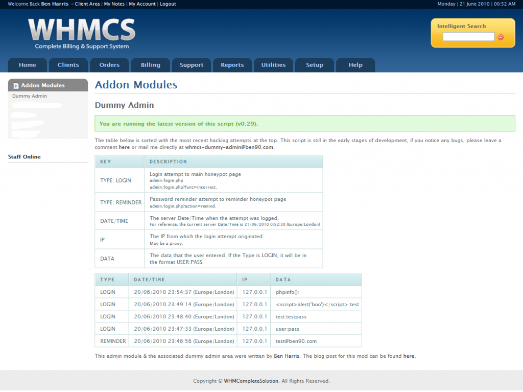 Dummy Admin Module